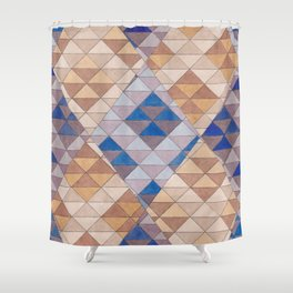 Triangle Pattern No. 13 Shifting Purple and Ochre Shower Curtain