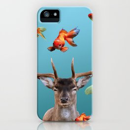 Deer with goldfishes swimming around iPhone Case