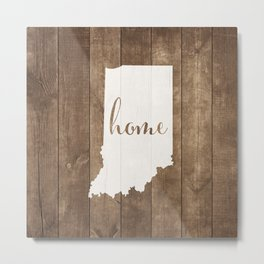 Indiana is Home - White on Wood Metal Print