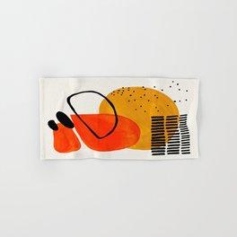 Mid Century Modern Abstract Colorful Art Yellow Ball Orange Shapes Orbit Black Pattern Hand & Bath Towel