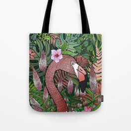 Florencia the Flamingo in her Forest Full of Florals Tote Bag