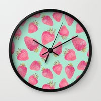strawberry Wall Clocks featuring Strawberry  by Marta Olga Klara