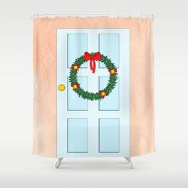 Traditional Christmas wreath on an old fashioned door Shower Curtain