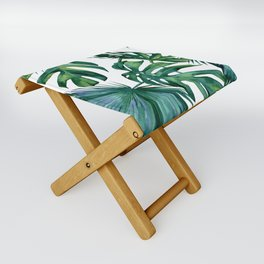Classic Palm Leaves Tropical Jungle Green Folding Stool