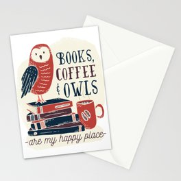 Books, Coffee & Owls Stationery Cards