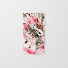 Candy Modern abstract pink salmon black grey acrylic brushstrokes painting Hand & Bath Towel