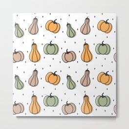 cute colorful pumpkins pattern background illustration Metal Print