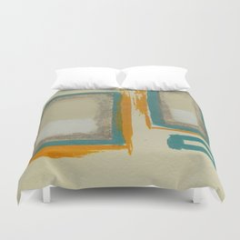Soft And Bold Rothko Inspired - Modern Art - Teal Blue Orange Beige Duvet Cover