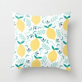 Lemon & Blueberry Pastel Throw Pillow