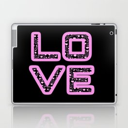 [Glittered Outline Effect Variant] Love's Simply Stylish [Black Background] Laptop & iPad Skin