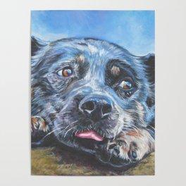 Australian Cattle Dog portrait by L.A.Shepard fine art painting blue heeler Poster