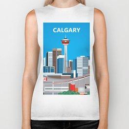 Calgary, Alberta, Canada - Skyline Illustration by Loose Petals Biker Tank