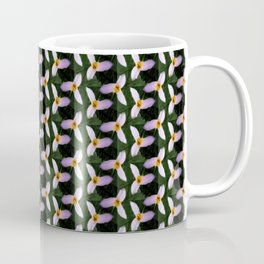 white trillium, dark background, tinted pattern Coffee Mug