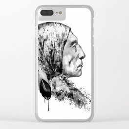 Native American Side Face Black and White Clear iPhone Case