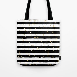 Hand drawn pattern, black and white stripes and gold dots Tote Bag