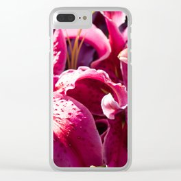 pink lilies Clear iPhone Case