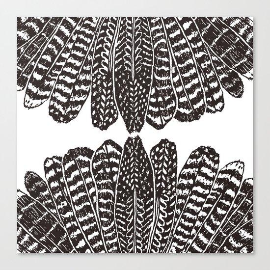 TRIBAL FEATHERS - BLACK Canvas Print
