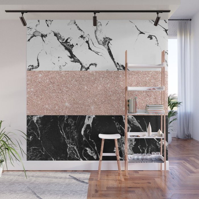 Modern black white marble rose gold color block stripes pattern Wall Mural