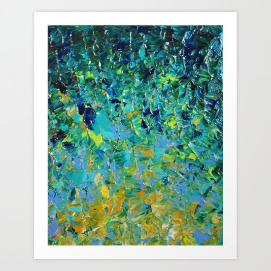 BEAUTY BENEATH THE SURFACE - Stunning Ocean River Water Nature Green Blue Teal Yellow Aqua Abstract Art Print