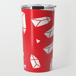 White Crystals on Red Travel Mug