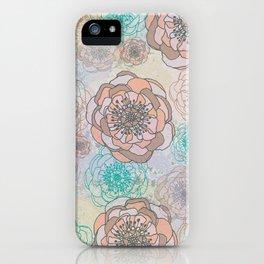 Peony Flowers Peach and Cream iPhone Case