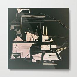 Modern Metropolis- Black and White Abstract  Metal Print