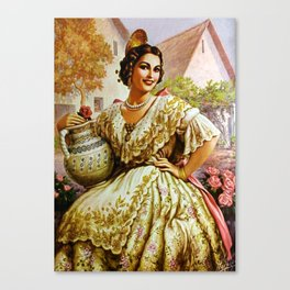 Mexican Calendar Girl in Embroidered Dress by Jesus Helguera Canvas Print