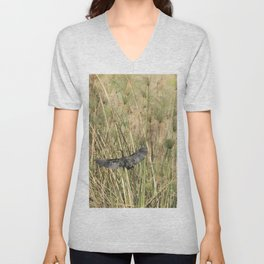 Reed Cormorant Flying Into the Papyrus Unisex V-Neck
