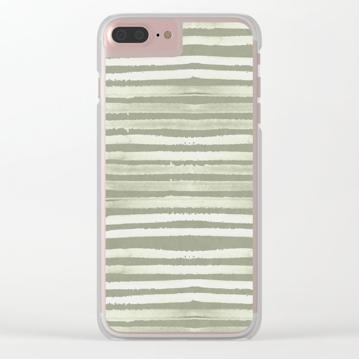 Simply Shibori Stripes Green Tea and Lunar Gray Clear iPhone Case