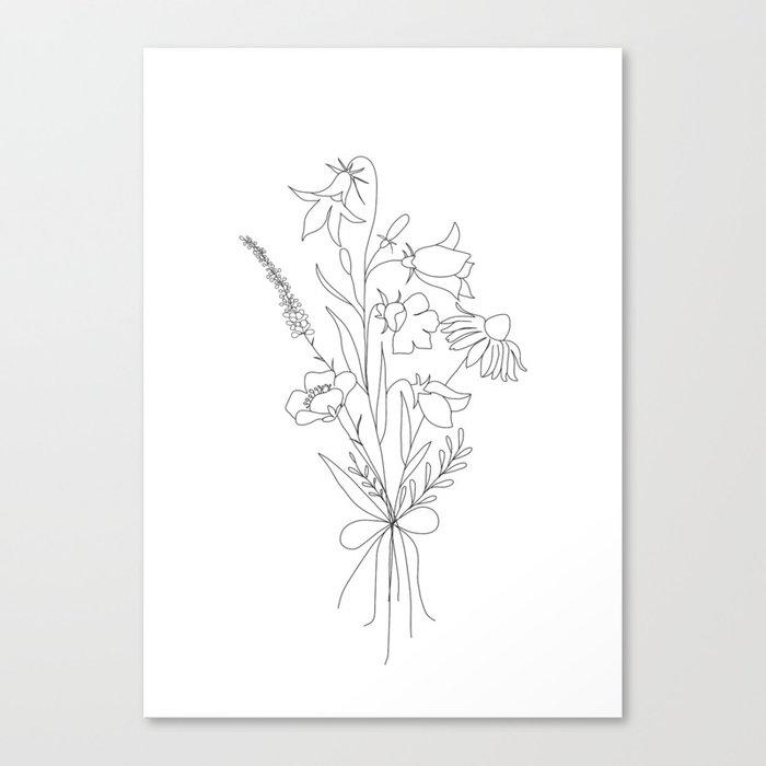 Small Wildflowers Minimalist Line Art Leinwanddruck