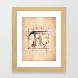 Pi Symbol Sketch Framed Art Print