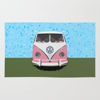 vw bus Area & Throw Rugs featuring The Pink  VW Love Bus of Peace  by BruceStanfieldArtist illustrator