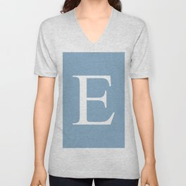 Letter E sign on placid blue color background Unisex V-Neck