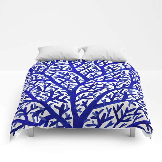 Fan Coral Navy Comforters By Cat Coquillette Society6