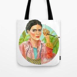 Frida Kahlo. Portrait with brush Tote Bag