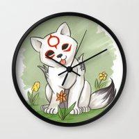 okami Wall Clocks featuring Okami Chibiterasu by Brandy Woods