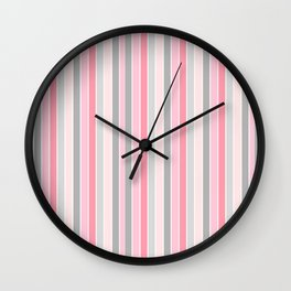 Classic Pink and Gray Stripes Wall Clock