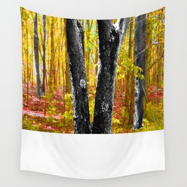 Yellow Trees in Summer Wall Tapestry