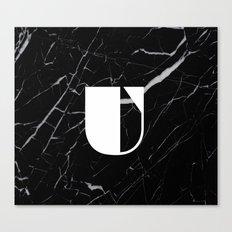 Black Marble - Alphabet U Canvas Print