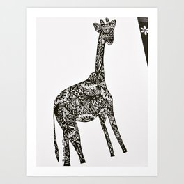 Giraffe drawing Art Print