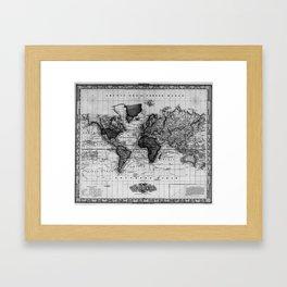 Vintage Map of The World (1833) White & Black Framed Art Print