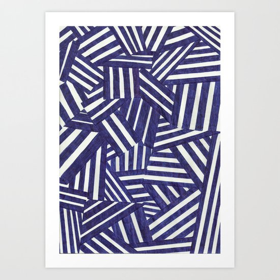 Blue and white Art Print