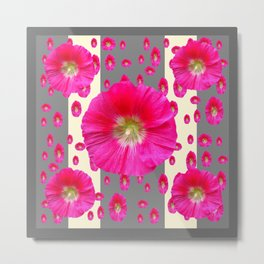 PINK-CERISE HOLLYHOCK FLOWERS  CREAM & GREY GARDEN Metal Print