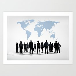 Watching the World. World Map Office Work Art Print