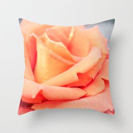 Salmon colored rose in bloom Throw Pillow
