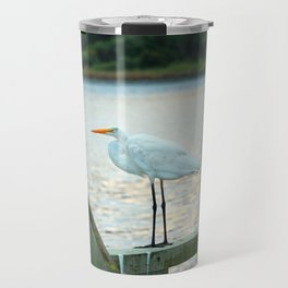 Egret Keeping Watch Travel Mug