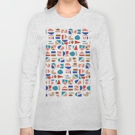 Geometric shapes in 1950 mid century modern style pattern Long Sleeve T-shirt