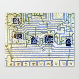 Silicon chip on a circuit Canvas Print