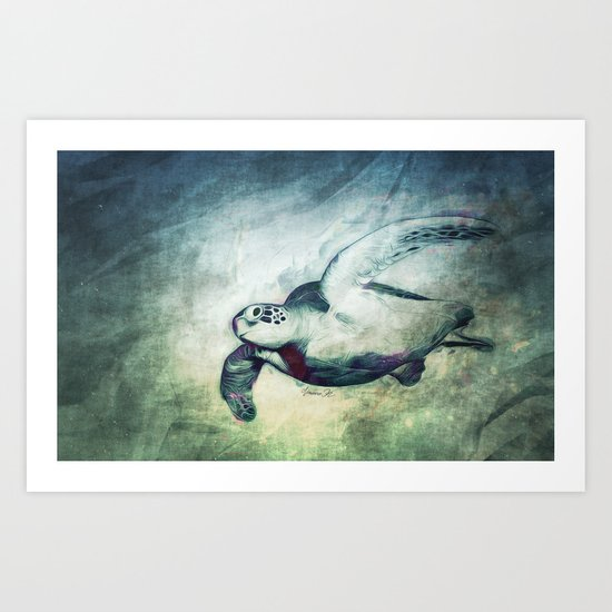 Flying Green Sea Turtle Art Print