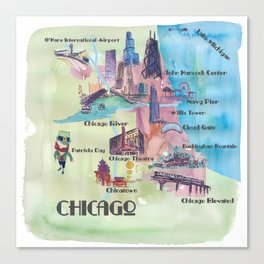 Chicago Favorite Map with touristic Top Ten Highlights in Colorful Retro Style Canvas Print